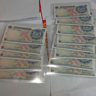 Singapore $1 Orchid Notes Gks Signature Unc 13 Runs