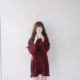 🚚 韓版酒紅寬松顯瘦V領中長款長袖毛衣