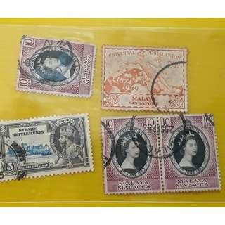 SINGAPORE , MALAYA - Mixed Lot of 5 Stamps