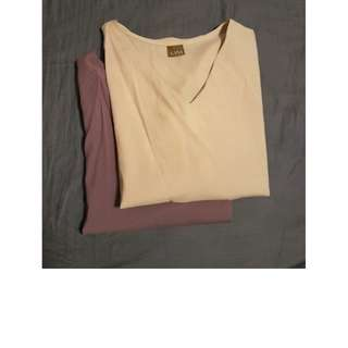 V Neck Classy V Neck Blouse in Beige and Dusty Purple