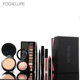 FOCALLURE 8Pcs Daily Use Cosmetics Powder Eye Makeup Eyebrow Pencil Volume Mascara Sexy Lipstick Blusher Makeup Set for Women For gf Birthday present Valentines gift
