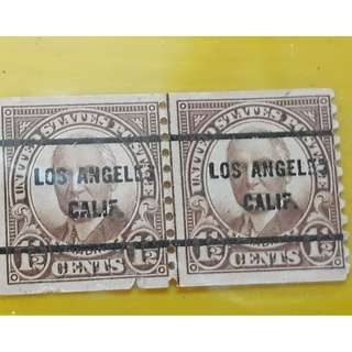 LOS ANGELES , CALIFORNIA - United States of Ameria - Vintage Pair of 2 Stamp