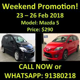 Mazda 5 $290 23/02 - 26/02 Sale Weekend