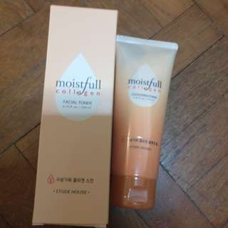Moistful collagen cleanser and toner from etude house brand new! SELLING BOTH AT TOTAL PRICE OF SGD$36!!