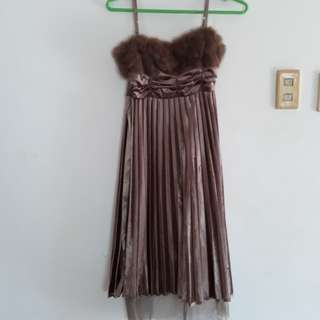 Brown Copper Boobs with the Fur Cocktail Dress Gown