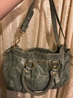 Miu Miu Green Vitello Lux Leather Handle Bag 手袋 包包 經典 復古
