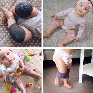 🌈(Ready Stock) 🆕Brand New in pack Baby Crawling Anti-slip Knee Pads Breathable Leg warmer Elastic Infant Protect Socks - Dark Grey/Pink