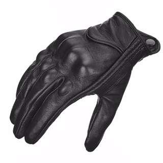 motorbike gloves riding leather gloves (Medium = 8.0 - 8.5 CM palm size)