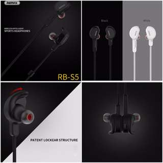 Super Bass Wireless Remax RB S5 Wireless Earpiece Earphone Headset