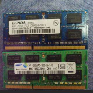 DDR3 10600S notebook 4GB Ram x2