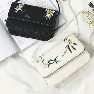Embroidery sling crossbody bag