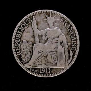 1911年 Indochine Francaise 10 cent. silver coin
