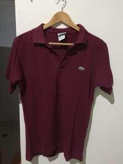 polo shirt maroon LACOSTE (ori) (b)