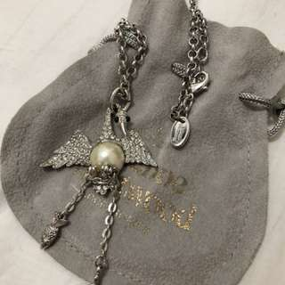 Vivienne Westwood swallow bird with pearl and swarovski crystal necklace