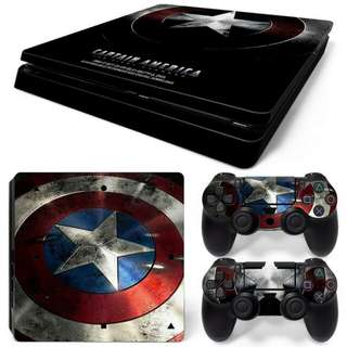 Captain America's Shield Skin Vinyl Decal Cover Sticker Adhesive for Sony PlayStation 4 Slim