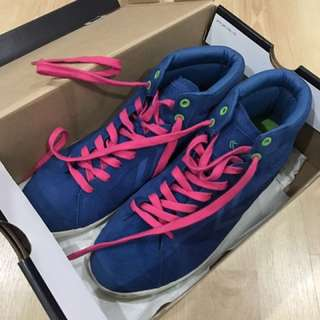Feiyue mid-top sneakers (blue with pink lace) - worn twice