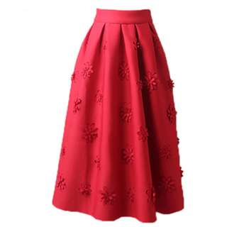 PO - Solid Floral Pleated High Waist Midi Skirt (4 colors)