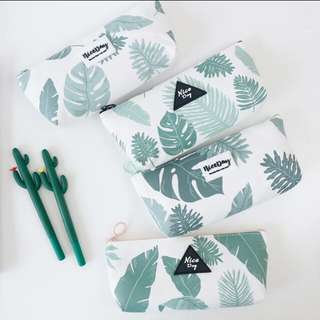 Leaf print pencil case
