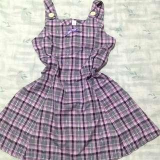 Checkered black pink dress