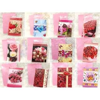 Kartu Ucapan Bunga Kado Souvernir dan Amlop nya motif timbul glitter Warna pink merah putih