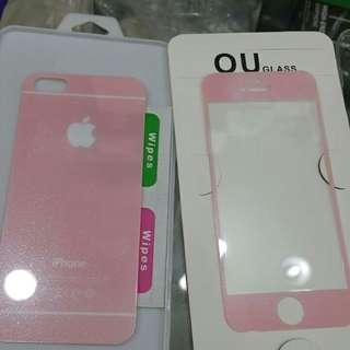Tempered glass pink glitter iphone 5