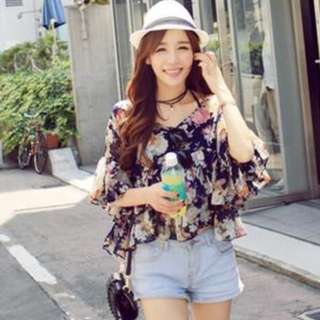 Blue floral ruffle sleeves top