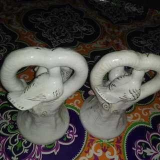 Barang antik pajangan keramik sepasang burung