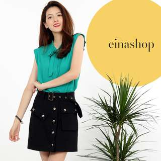 [30% OFF WITH FREE GIFT] CORINNA MINI SKIRT IN BLACK BY EINASHOP.COM