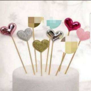 Heart shape Shiny/Glitter Toppers for Party, Cupcake, muffin, Cake Decorations