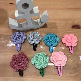 Handmade crochet roses hair clips