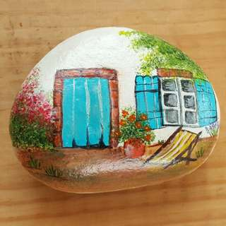 Individually acrylic hand painted Country House with Garden on large pebble