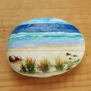 Individually acrylic hand painted Seashore and a beautifu beach on large pebble