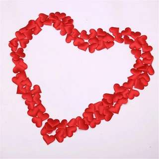Artificial fabric heart shape petals 3 packs of 50 hearts each