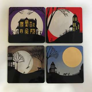 Whimsical Full Moon series Coasters set of 4