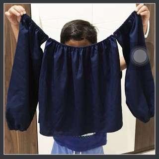Atasan Wanita / Baju Sabrina / Atasan Off Shoulder / Baju Biru