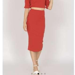Bandange bodycon skirt in burnt
