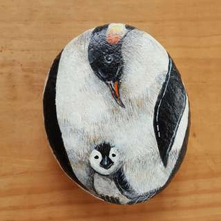 Individually acrylic hand painted Loving Mother and Child Penguins on large pebble