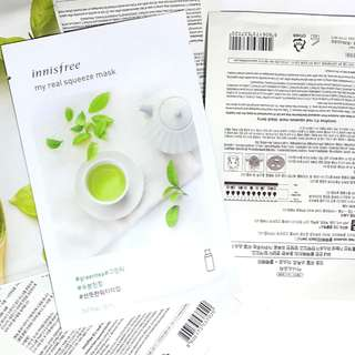 INNISFREE Real Squeeze Sheet masks KOREAN PRODUCTS GREEN TEA