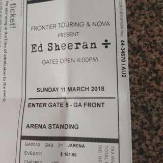 Ed Sheeren ticket