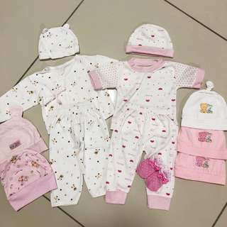 New Born Baby Girl Clothes & Hats (set)