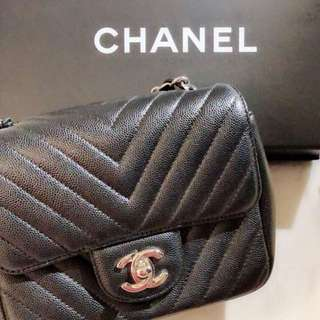 Chanel Mini Square Chevron flap bag
