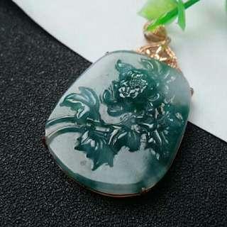 🍀18K GOLD - Grade A 冰润 Green Floral Peony Flower 花开富贵 Jadeite Jade Pendant🍀