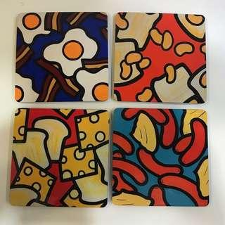 Set of 4 British food series Coasters from original paintings