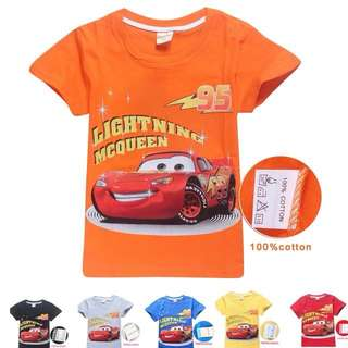 Brand new lightning mcqueen cars t shirt top cotton clothes boys children