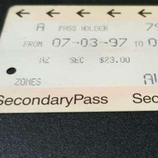 Old Singapore Student Transitlink Cards (ezlink)