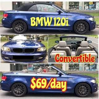 BMW 120i Cabriolet Convertible Sport Car Lease Rental Lowest Price ( Also 525i Estima Vezel Hybrid)