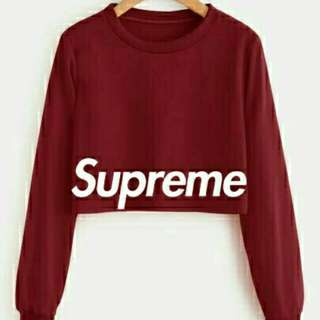 SWEATER CROP SUPREME   BAHAN BABYTERRY LD 100, PJG 47. ALLSIZE FIT TO L BESAR