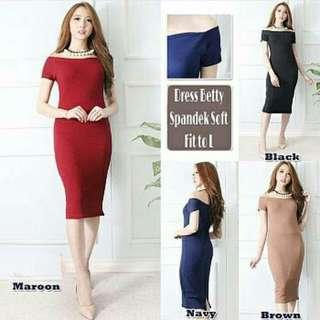 DRESS BETTY SABRINA  DRESS MODEL SABRINA. BAHAN SPANDEK SOFT, ALLSIZE FIT TO L. LD 80cm, PJG 89cm.