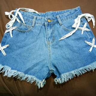 Side Lace Up Denim Shorts