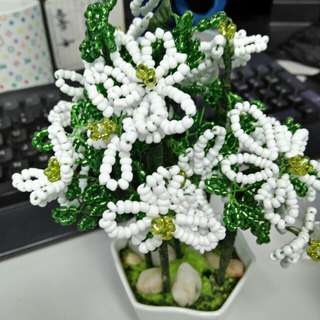 Bead Flower Ornaments (in mini pots)